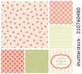 set of cute seamless shabby... | Shutterstock . vector #310760480