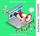 isometric social media... | Shutterstock .eps vector #310763090