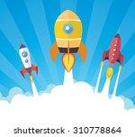 cartoon spaceships launch | Shutterstock .eps vector #310778864
