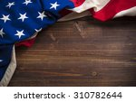 an old american flag on a... | Shutterstock . vector #310782644