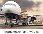 loading cargo on the plane in... | Shutterstock . vector #310798943
