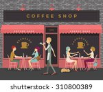 Stock vector coffee shop scene of people eating chatting meeting 310800389