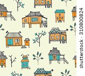 set of hand drawn houses.... | Shutterstock .eps vector #310800824