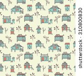 set of hand drawn houses.... | Shutterstock .eps vector #310800830