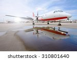 commercial airplane with sunset ...   Shutterstock . vector #310801640