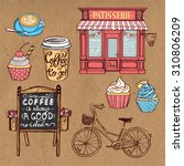 hand drawn pastry set. vintage... | Shutterstock .eps vector #310806209