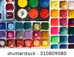 Closeup Of Water Color Paint Box