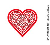 red heart with decorative... | Shutterstock . vector #310822628