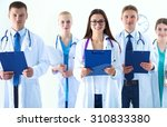 portrait of group of smiling... | Shutterstock . vector #310833380