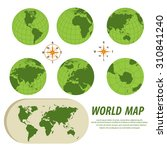 world map with globes | Shutterstock .eps vector #310841240