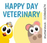 happy chicken and hamster for... | Shutterstock .eps vector #310860674