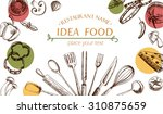 vegetable and kitchenware... | Shutterstock .eps vector #310875659