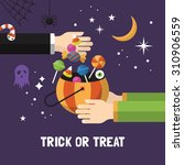 halloween trick or treat card... | Shutterstock .eps vector #310906559