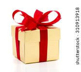 beautiful gold present box with ... | Shutterstock . vector #310913918