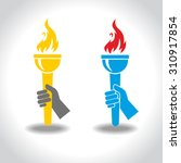 victory flame symbol hand hold...   Shutterstock .eps vector #310917854