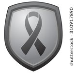 grey ribbon on shield as symbol ... | Shutterstock .eps vector #310917890