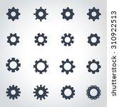 vector black gear icon set | Shutterstock .eps vector #310922513