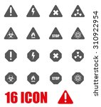 vector grey danger icon set. | Shutterstock .eps vector #310922954