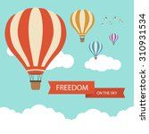 Flat Design  Hot Air Balloon I...