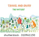 travel funny card with... | Shutterstock .eps vector #310961150