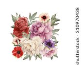 greeting card with peonies ... | Shutterstock . vector #310970438