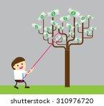 businessman collect money... | Shutterstock .eps vector #310976720