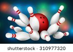 red bowling ball  and skittles. ... | Shutterstock .eps vector #310977320