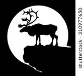 black silhouette of a deer ... | Shutterstock . vector #310977650