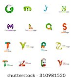 set of colorful abstract letter ... | Shutterstock . vector #310981520