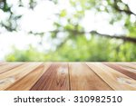 Close Up Wooden Table With...