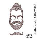 mustache beard and hair style.   Shutterstock .eps vector #310996088