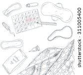 sanitary napkin set. woman... | Shutterstock .eps vector #311005400