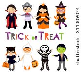 cute colorful halloween kids... | Shutterstock .eps vector #311009024
