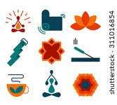colorful vector yoga icons and...   Shutterstock .eps vector #311016854
