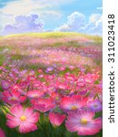 illustration cosmos and flower... | Shutterstock . vector #311023418