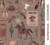 wild west colored hand drawn...   Shutterstock .eps vector #311024630