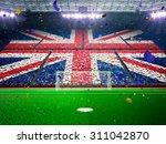 flag england of fans  evening... | Shutterstock . vector #311042870