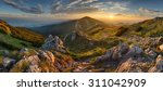 Panorama rocky mountain at sunset in Slovakia