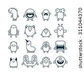 set of cute simple cartoon... | Shutterstock .eps vector #311044370