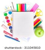 school supplies on white... | Shutterstock . vector #311045810