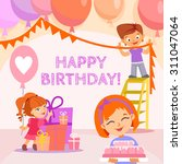 happy birthday banner with cute ... | Shutterstock .eps vector #311047064