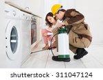 male worker spraying... | Shutterstock . vector #311047124