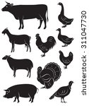set of vector icons with farm... | Shutterstock .eps vector #311047730