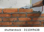 Workers Masonry Clay Brick To...