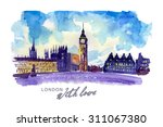 watercolor hand drawn colorful...   Shutterstock . vector #311067380