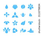 blue water drops set of icons.... | Shutterstock .eps vector #311078834
