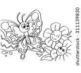 butterfly coloring pages vector  | Shutterstock .eps vector #311139830
