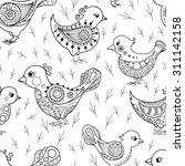 birds doodle seamless pattern.... | Shutterstock .eps vector #311142158