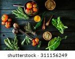 vegetables on wood. bio healthy ... | Shutterstock . vector #311156249