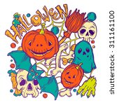 card for halloween with horror... | Shutterstock .eps vector #311161100